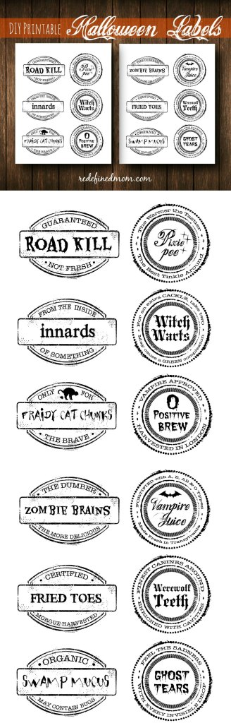DIY Printable Halloween Labels Collage