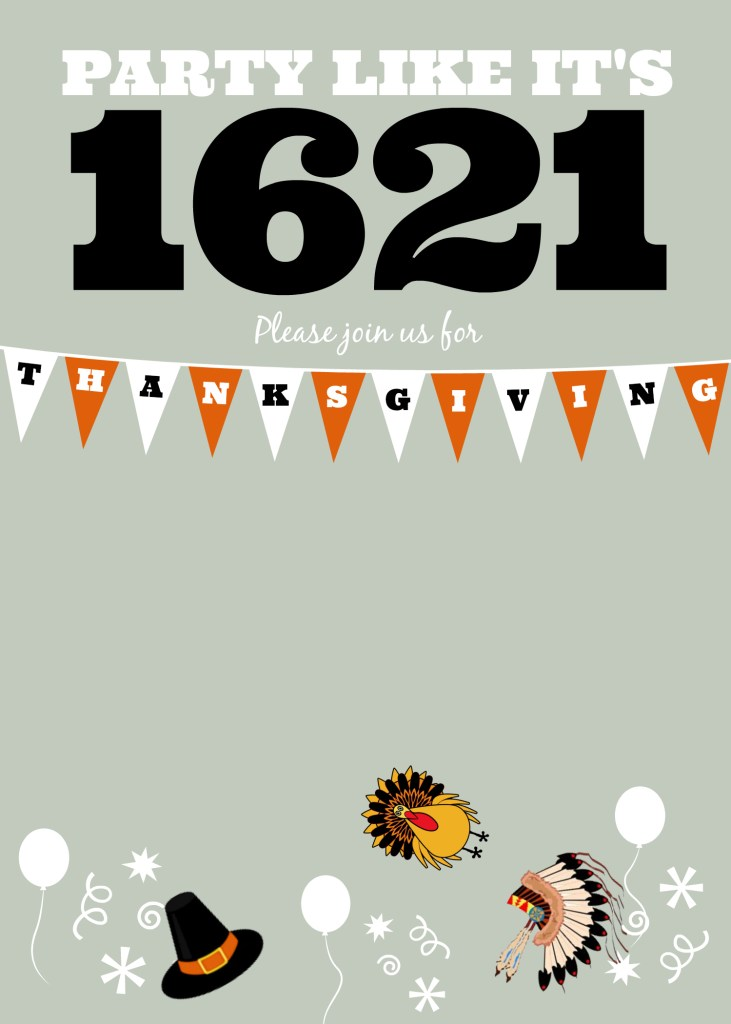 DIY Printable Thanksgiving 1621 Invite