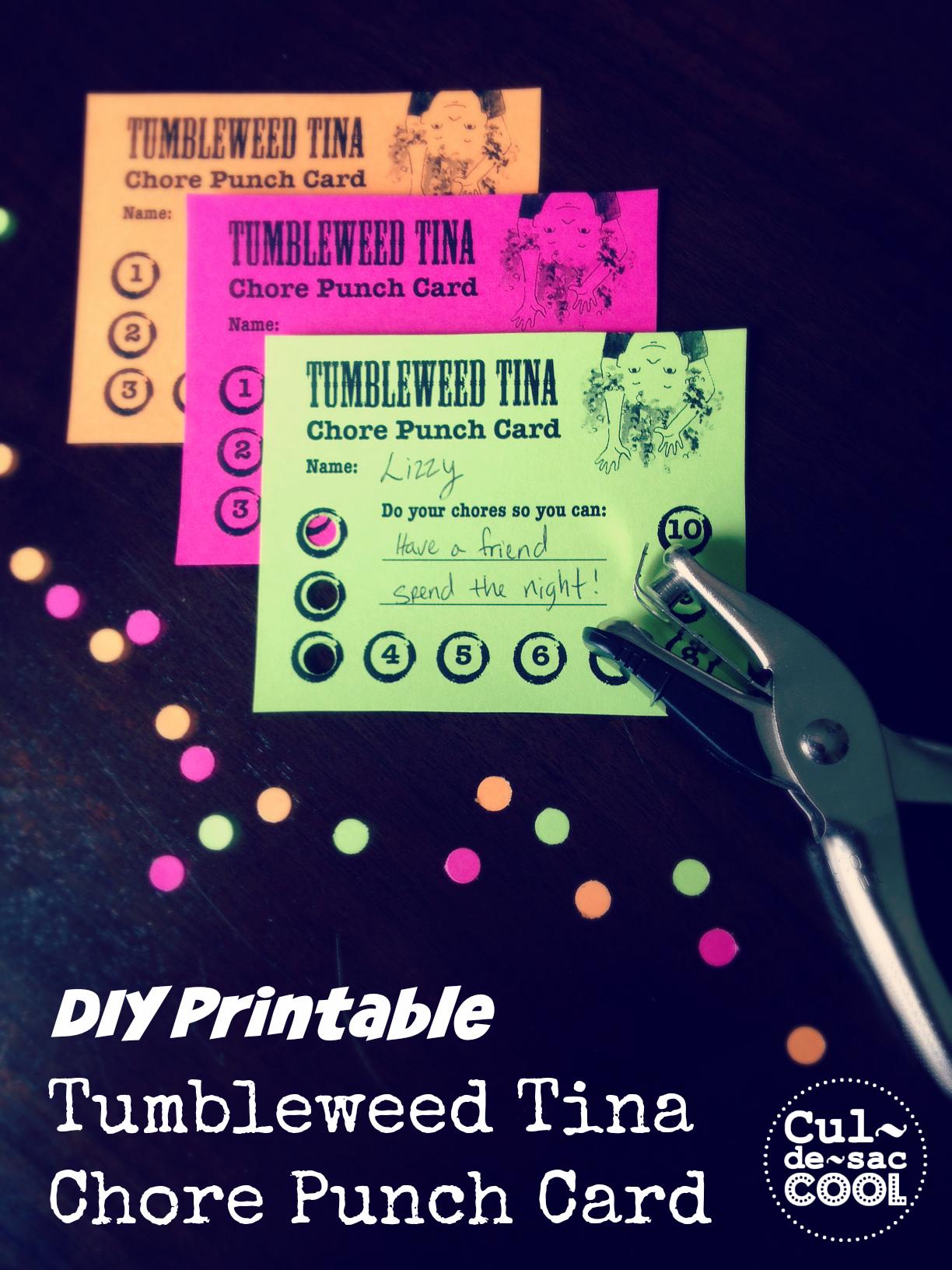 Tumbleweed Tina Chore Punch Card 4