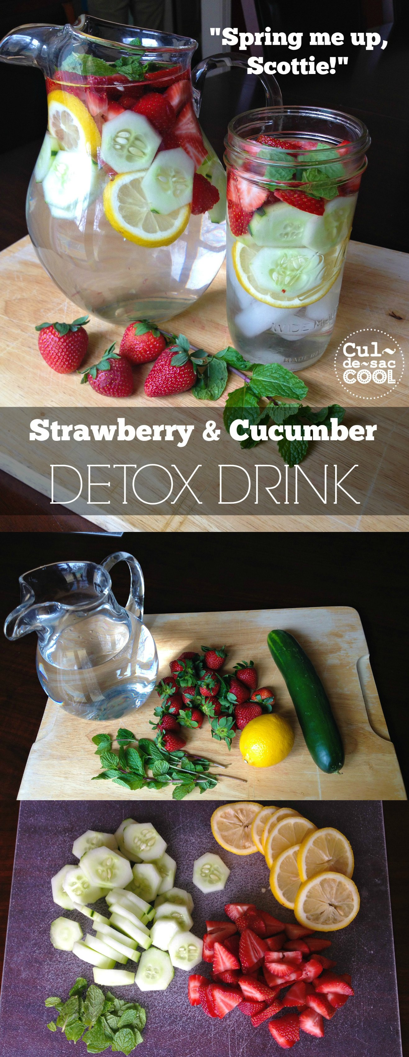 Strawberry and Cucumber Detox Drink Collage