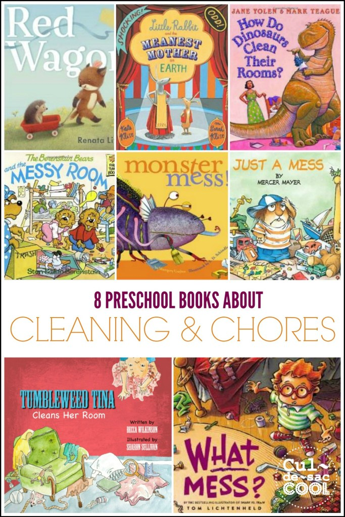 8 Preschool Books About Cleaning and Chores Collage
