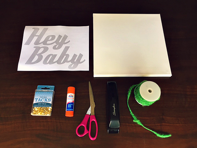 DIY 'Hey Baby' Thumb Tack Artwork Supplies