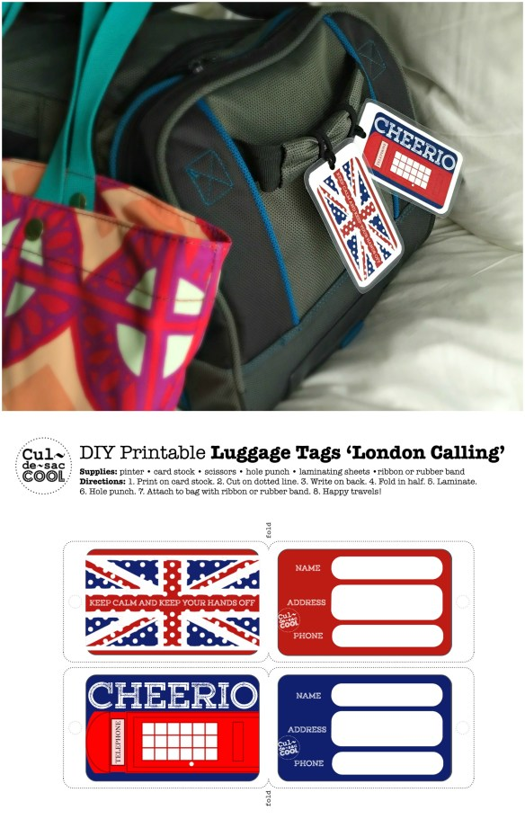 DIY Printable Luggage Tags 'London Calling' Collage
