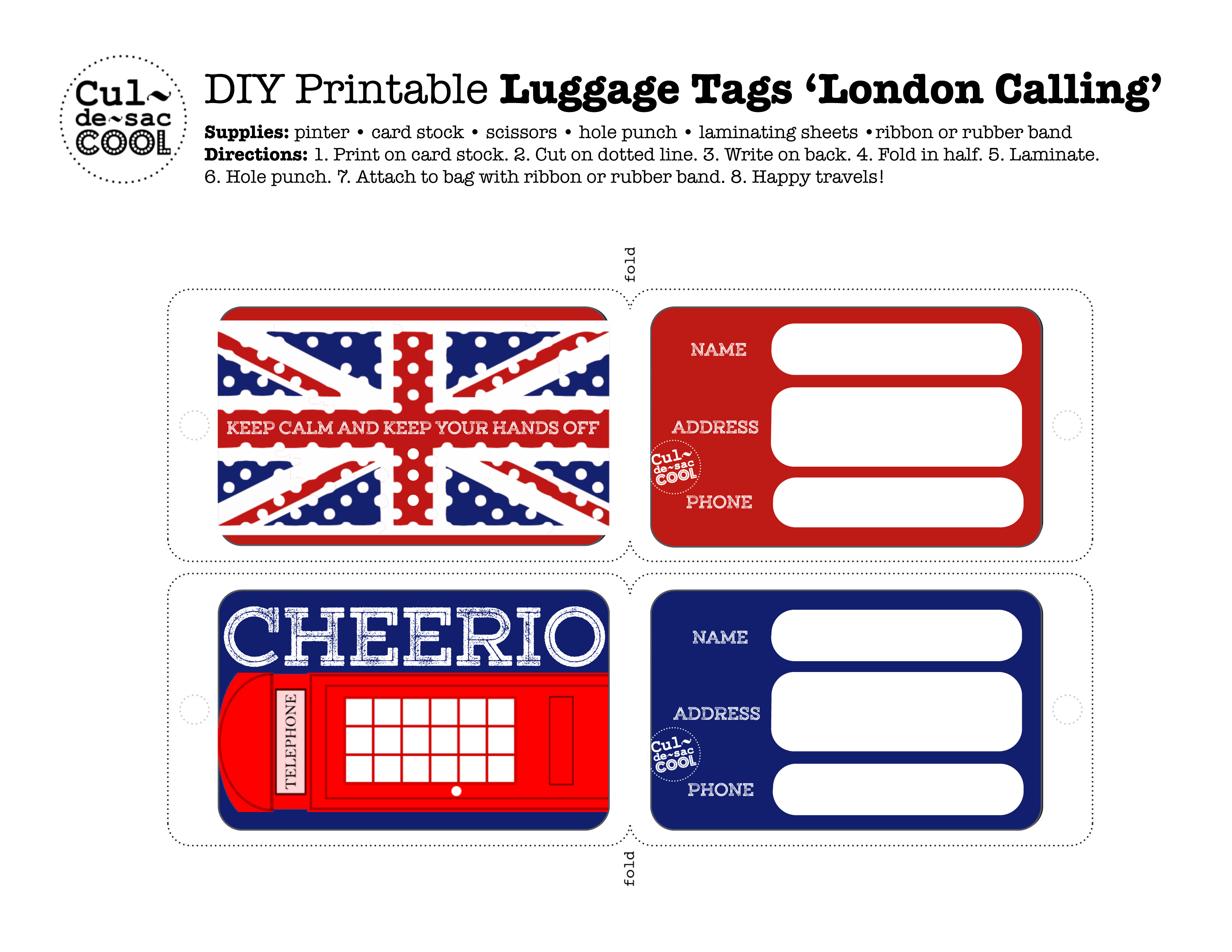 picture about Luggage Tags Printable identified as Do-it-yourself Printable Baggage Tags London Getting in touch with