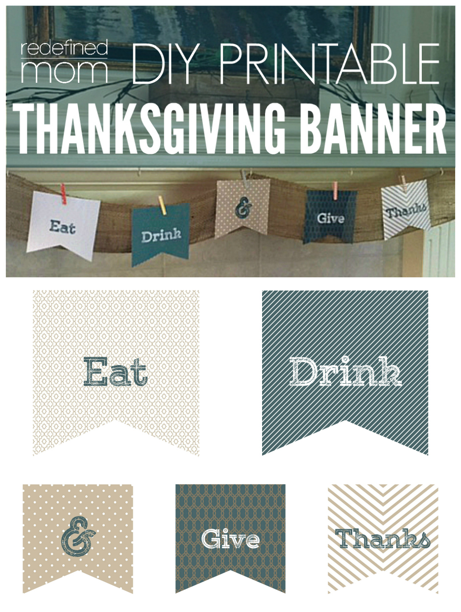 DIY Printable Thanksgiving banner 2 Collage