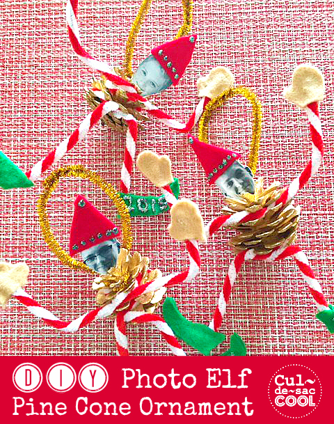 DIY Photo Elf Pine Cone Ornament cover 2