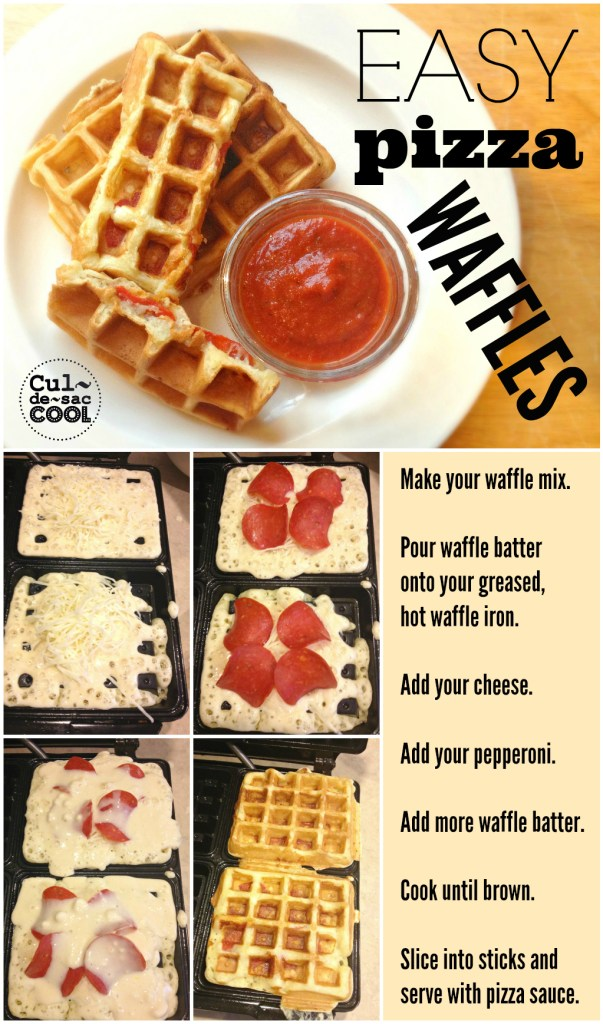 Easy Pizza Waffles Collage