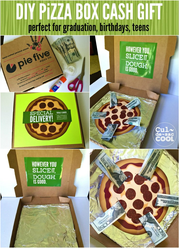 DIY Pizza Box Cash Gift Collage 2