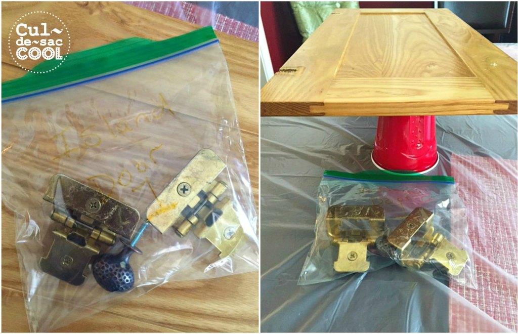 DIY Kitchen Island Remodel hard ware baggies