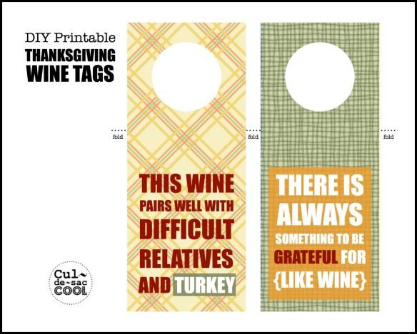 DIY Printable Thanksgiving Wine Tags  