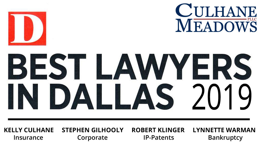 Culhane Meadows PLLC Four Partners included on D Magazine's 2019
