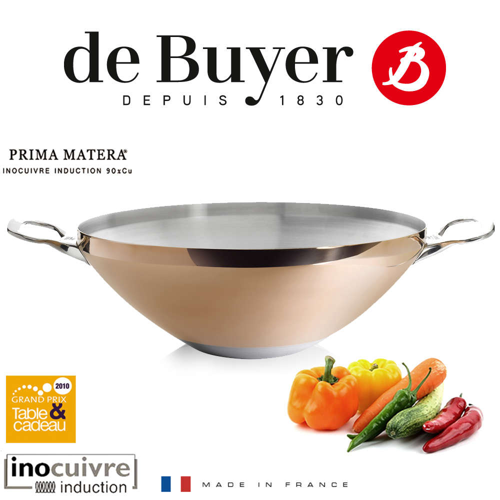 de buyer copper wok 32 cm prima matera