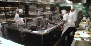 Service in a commercial kitchen