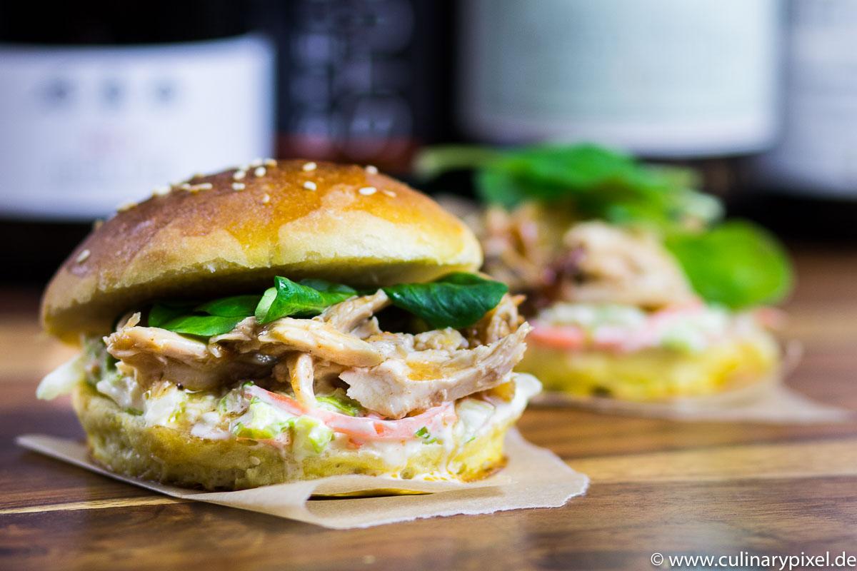Rezept fr Pulled Chicken Burger mit Cole Slaw