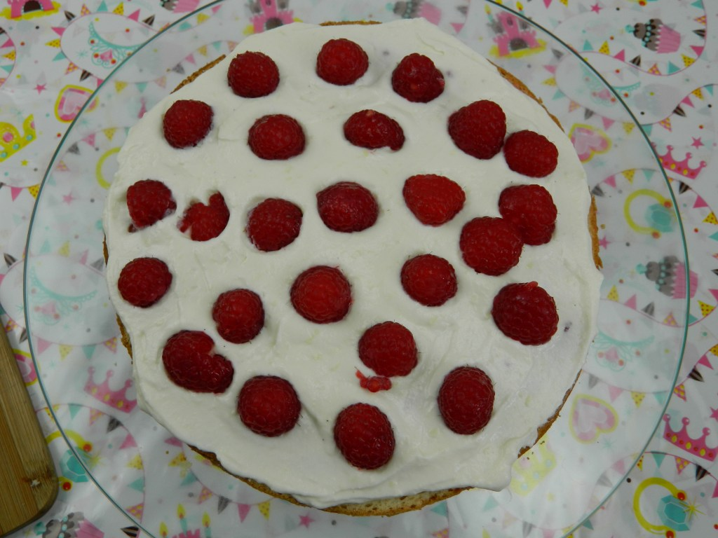 Ombre White Chocolate Cake with Raspberries