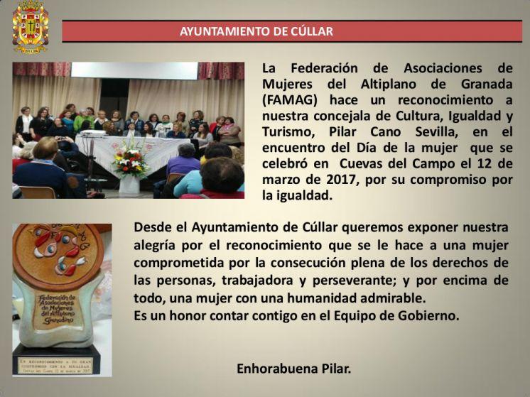 Reconocimiento a la concejala de Igualdad, Cultura y Turismo del Ayuntamiento de Cúllar