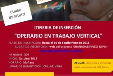 """Ampliación plazo de solicitud del Itinerario de Inserción """"Operario en trabajo vertical"""""""