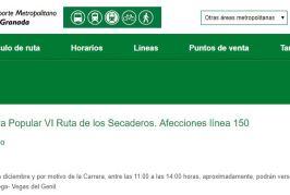 INFORMACIÓN LÍNEA BUS (150), DOMINGO 27 DE ENERO