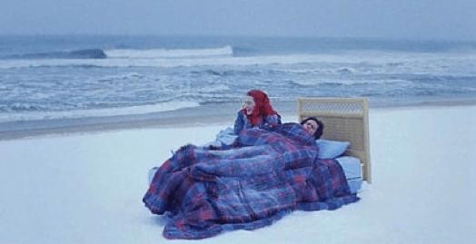 Bed on a beach