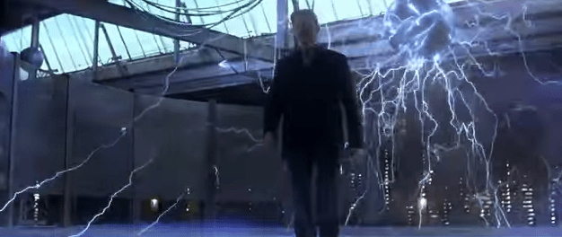 David Bowie walking through electricity