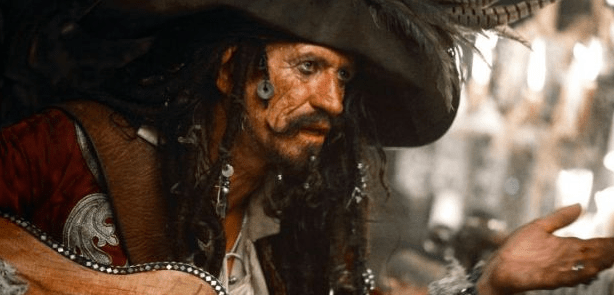 Keith Richards, looking not all that different than usual as a pirate