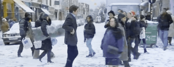 "Will Thacker (Hugh Grant) traipsing sadly though the snow thinking about Anna (Roberts) as ""Ain't No Sunshine"" plays in the background"