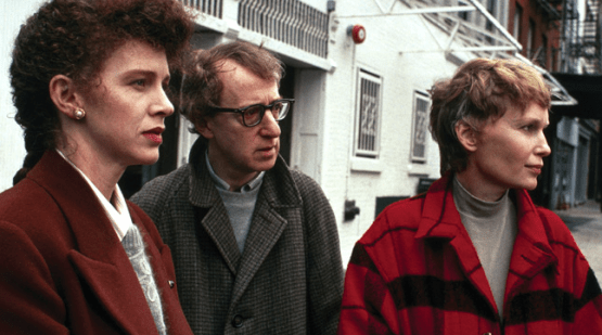 Judy Davis, Woody Allen and Mia Farrow in Husbands and Wives
