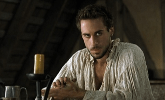 Joseph Fiennes as moody scribe William Shakespeare