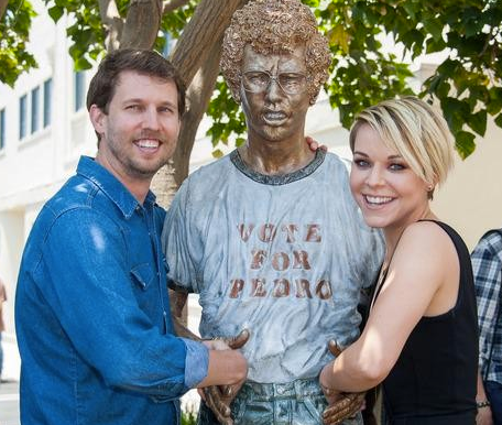 With the Napoleon Dynamite statue on the Fox lot