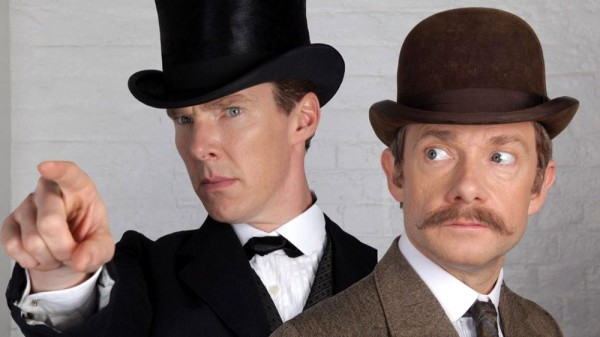 Benedict Cumberbatch and Martin Freeman as Victorian-era Sherlock Holmes and Dr. John Watson
