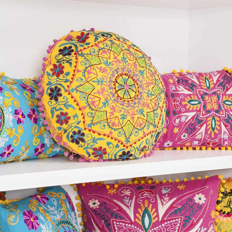 Indian Summer Embroidery  Pompom Cushions  Cult