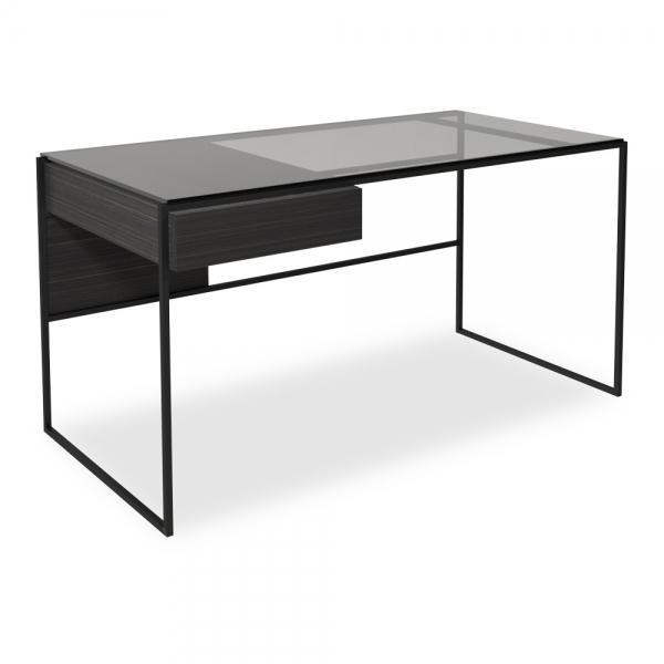 ayla desk table with drawer black stained oak black metal frame
