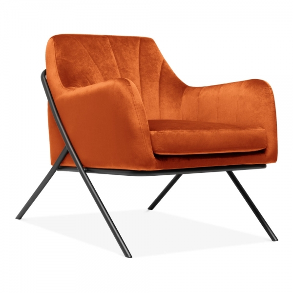 orange upholstered chair trendy occasional chairs burnt bailey armchair fabric modern furniture