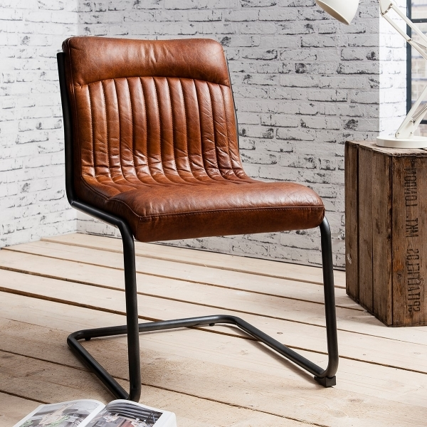 Blake Brown Leather Upholstered Dining Chair Modern Dining Chairs