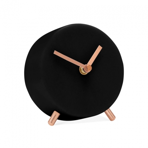 Small Round Black Marble Desk Clock  Contemporary Clocks