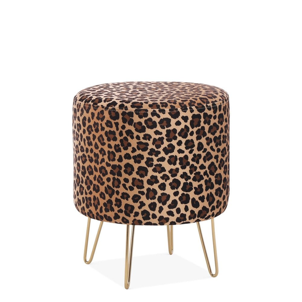 cult living paloma round low stool velvet upholstered leopard print