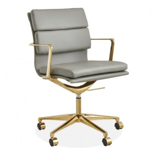 SOFT PAD OFFICE CHAIR WITH SHORT BACK, LIGHT GREY AND GOLD Home Office