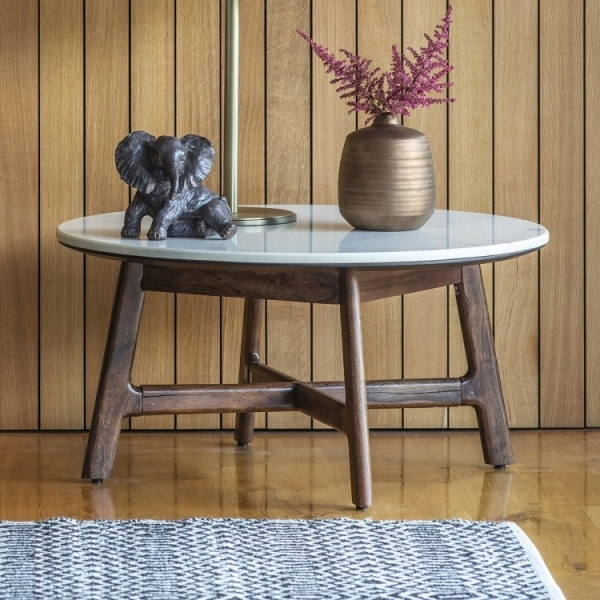 cult living sybil round coffee table white marble top brown