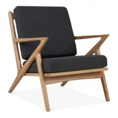 Wooden Lounge Chair Ergonomic Kneeling Office Natural Wood Chairs Cult Furniture Z Style Dane Grey Upholstered Seat