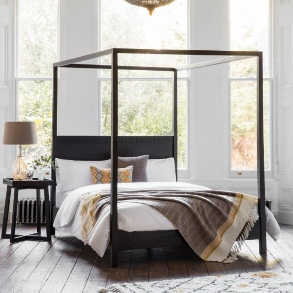 cult living zephyr super king size 4 poster bed solid mango wood black