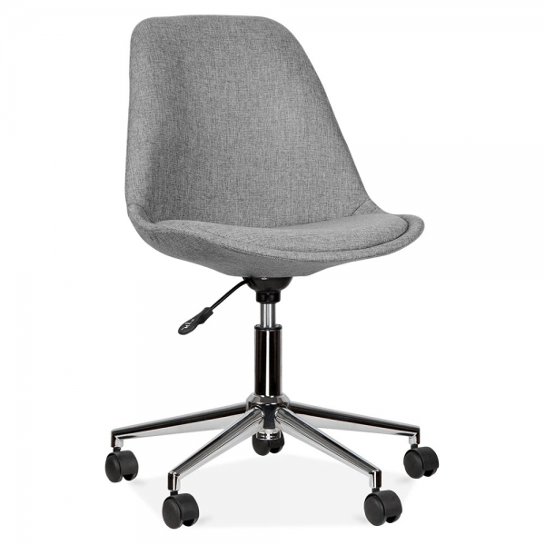 grey material office chair hickory dining chairs eames inspired upholstered with castors cult uk soft pad seat