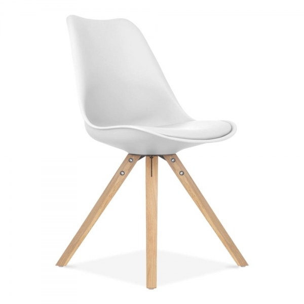 oak and white dining chairs lounge chair plastic eames inspired with pyramid wood legs cult uk