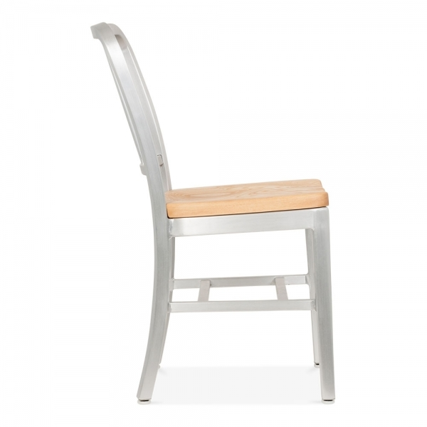 silver metal dining chairs fishing chair spare parts navy 1006 anodized natural wood seat restaurant style with