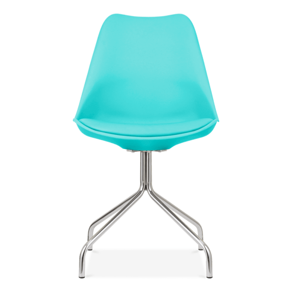 Eames Inspired Turquoise Dining Chairs with Metal Cross
