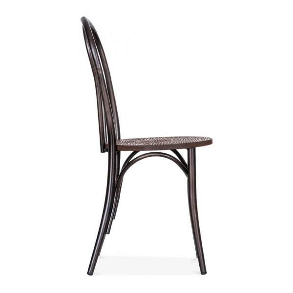 Rustic Thonet Style Metal Bistro Chair with Wood Seat