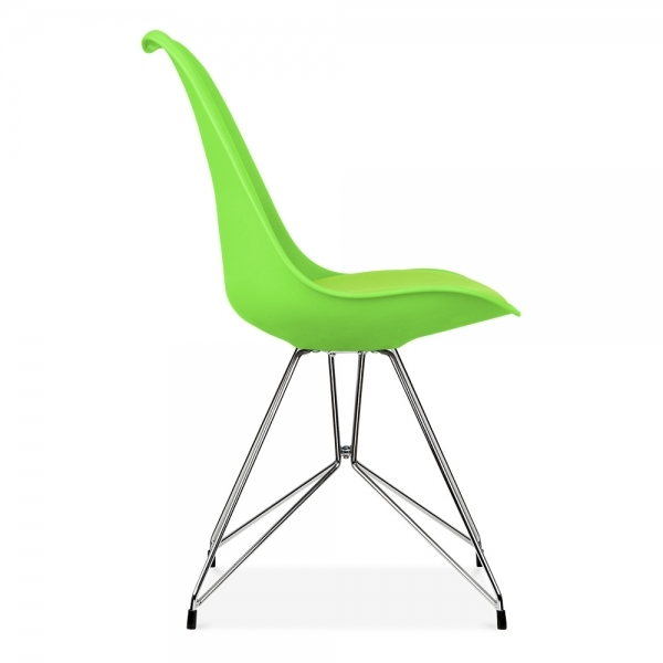 Eames Inspired Lime Green Dining Chair with Geometric Legs