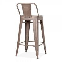 Tolix Style Metal Bar Stool with Low Back Rest Rustic 65cm ...