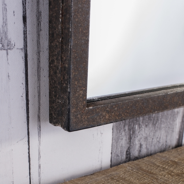 Brompton Window Style Industrial Metal Mirror Rustic