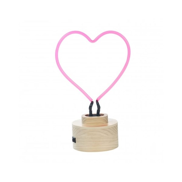 Neon Red Heart Standing Table Lamp with Wood Base