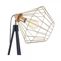 Black & Gold Hamilton Caged Tripod Floor Lamp | Industrial ...